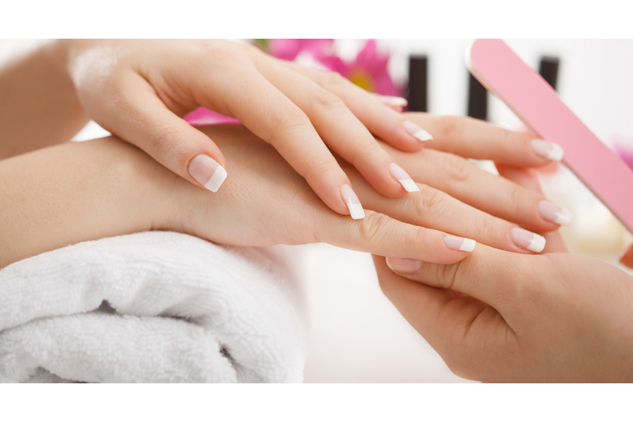 French / Glitter Tips Manicure Gelish by Dollhouse on Daily Vanity Salon Finder