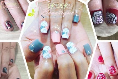 Classic gel manicure with 2 fingers nail art